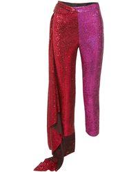 Halpern Draped Tulle-paneled Sequined Satin Straight-leg Pants - Red