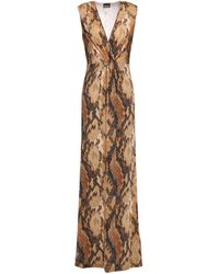 Just Cavalli Wrap-effect Snake-print Stretch-jersey Maxi Dress Animal Print - Brown