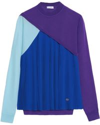 Vionnet - Pleated Silk-paneled Wool, Cashmere And Silk-blend Jumper - Lyst