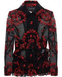 Simone Rocha Belted Ruffled Embroidered Tulle Jacket - Black
