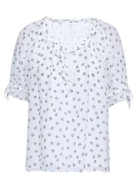 Joie - Woman Printed Silk-georgette Top White - Lyst