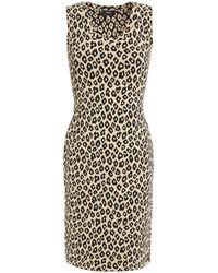 Theory Leopard-print Jacquard-knit Mini Dress Sand - Natural