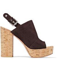 Gianvito Rossi - Marcy Suede And Cork Platform Sandals Dark Brown - Lyst