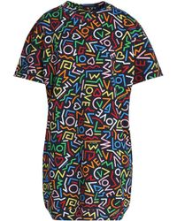 Love Moschino - Printed French Cotton-terry Mini Dress - Lyst
