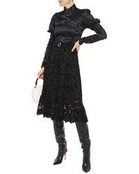 Shrimps Pearl Bow-embellished Guipure Lace Midi Skirt - Black