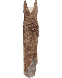 Nicholas - Asymmetrisches Kleid Aus Crêpe De Chine Aus Seide Mit Floralem Print Und Raffungen Animal-print Größe 0 - Lyst