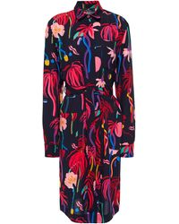 PS by Paul Smith Belted Printed Crepe De Chine Shirt Dress Navy - Blue
