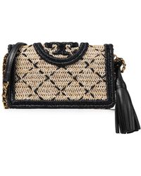 Tory Burch Fleming Tasselled Embroidered Raffia Shoulder Bag Black