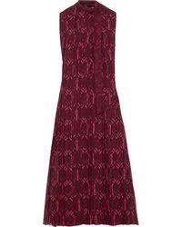 Valentino Pleated Printed Silk-georgette Midi Dress Plum - Purple