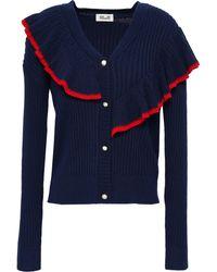 Baum und Pferdgarten Ruffled Ribbed-knit Cardigan Navy - Blue