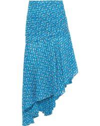 Veronica Beard Sevilla Asymmetric Floral-print Silk-georgette Skirt Turquoise - Blue