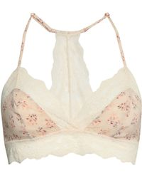 Eberjey - Woman + Rebecca Taylor Lou Floral-print Stretch-silk And Lace Triangle Bra Cream - Lyst