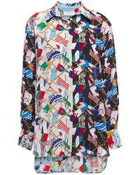 Sandro Louisette Printed Crepe De Chine Shirt Multicolor