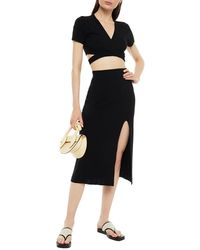 Solid & Striped Cropped Tie-front Knitted Top - Black