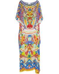 Camilla Girl Next Door Crystal-embellished Printed Silk Kaftan Bright Blue