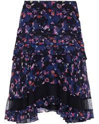Jason Wu Ruffled Floral-print Crinkled Silk-chiffon Skirt Black
