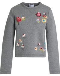 RED Valentino - Embellished Mélange Cotton-neoprene Sweatshirt - Lyst
