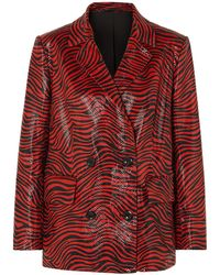 Stand Studio + Pernille Teisbaek Cassidy Double-breasted Zebra-print Faux Leather Blazer - Red