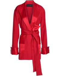 Michael Lo Sordo Belted Satin-trimmed Wool-twill Coat Red