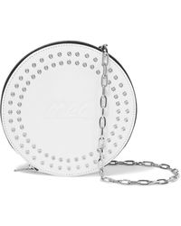 McQ Circle Studded Logo-embossed Leather Pouch White