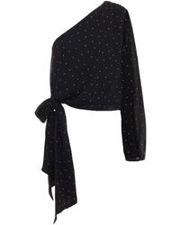Michelle Mason One-shoulder Polka-dot Silk-chiffon Top - Black