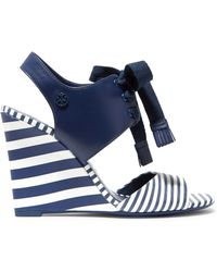 Tory Burch - Maritime Lace-up Striped Leather Wedge Sandals - Lyst