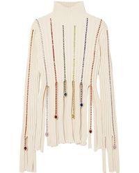 Area Crystal-embellished Ribbed Cotton-blend Turtleneck Jumper - White