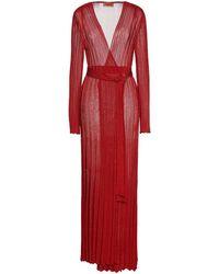 Missoni Cardigan aus rippstrick mit gürtel in metallic-optik - Rot