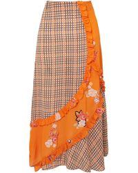 Preen Line Nevah Ruffled Panelled Printed Checked Crepe De Chine Skirt - Orange