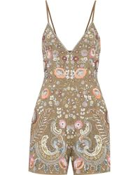 Needle & Thread - Iridescent Cinder Crepe Playsuit Army Green Size 16 - Lyst