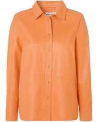 Stand Studio Gabi Leather Shirt - Orange