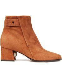 Nicholas Kirkwood Faux Pearl-embellished Suede Ankle Boots - Brown