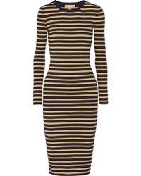 Michael Kors - Metallic Striped Stretch-knit Dress - Lyst