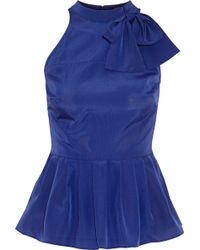 Raoul - Pussy-bow Crepe De Chine Top Royal Blue - Lyst