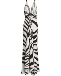 Roberto Cavalli - Satin And Mesh-trimmed Zebra-print Stretch-jersey Gown - Lyst