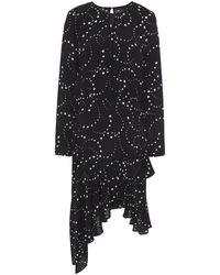 Maje Asymmetric Printed Crepe Dress Black