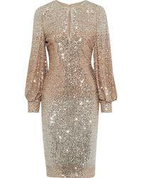 Badgley Mischka Cutout Dégradé Sequined Mesh Dress Rose Gold - Metallic