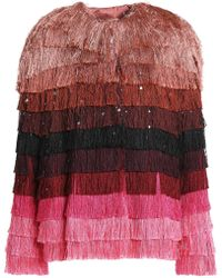 Marco De Vincenzo - Striped Fringed Satin Jacket - Lyst