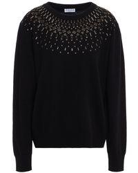 Claudie Pierlot Miou Embellished Wool-blend Jumper - Black