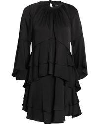 Marissa Webb - Ruffled Cutout Satin-crepe Mini Dress - Lyst