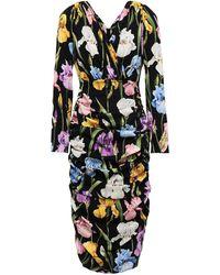 Dolce & Gabbana Ruched Floral-print Silk-blend Dress - Black