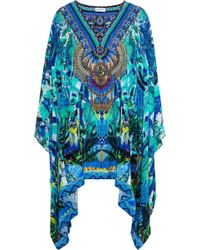 Camilla Amazon Azure Embellished Printed Silk Crepe De Chine Kaftan Azure