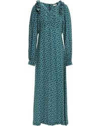 MASSCOB Provence Ruffle-trimmed Floral-print Crinkled-silk Maxi Dress Teal - Blue