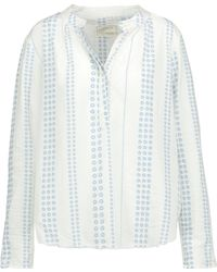 Current/Elliott - The Annabelle Gathered Floral-print Cotton-gauze Top - Lyst