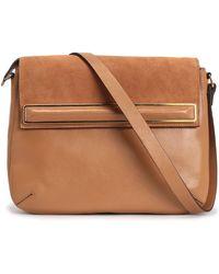 Halston Suede-paneled Leather Shoulder Bag - Brown