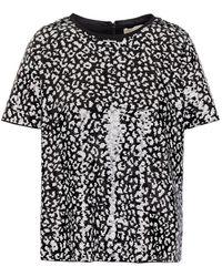 MICHAEL Michael Kors Printed Sequin-embellished Mesh Top - Black