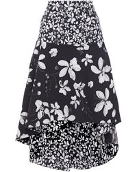 Isolda Asymmetric Floral-print Cotton-blend Skirt - Blue