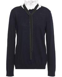 Claudie Pierlot Tie-neck Ruffled Wool Sweater Navy - Blue