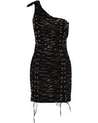 Moschino Minikleid Aus Veloursleder Mit Zebraprint, Schnürung Und Asymmetrischer Schulterpartie - Schwarz