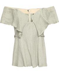 Kitx Off-the-shoulder Ruffled Hemp And Silk-blend Top Mint - Multicolour